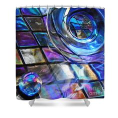 """Glass Abstract 241 Shower Curtain at http://fineartamerica.com/products/glass-abstract-241-sarah-loft-shower-curtain.html.    This shower curtain is made from 100% polyester fabric and includes 12 holes at the top of the curtain for simple hanging.  The total dimensions of the shower curtain are 71"""" wide x 74"""" tall. $65"""
