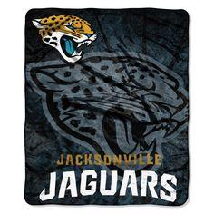 Jacksonville Jaguars NFL Royal Plush Raschel Blanket (Roll Out Series) (50in x 60in)