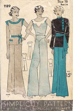 Early 1930's pattern, Simplicity 1189, Pajamas Trousers and Three Blouse Styles.