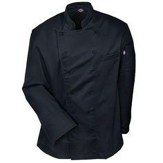 Dickies Chef Coats: Men's Black DC101 BLK Lorenzo Cotton Blend Chef Coat