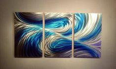 """Metal Wall Art Decor Abstract Contemporary Modern Sculpture Hanging Zen Textured - 47"""" Echo 3 Blues"""