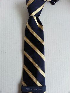 """Tommy Hilfiger men neck dress #tie NAVY BLUE with YELLOW STRIPES NWT (L 60 W 3"""") Tommyhilfiger visit our ebay store at  http://stores.ebay.com/esquirestore"""