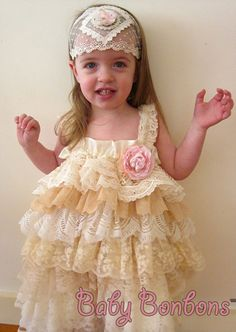 Christmas Party Dress, Flower Girl,Special occasion Ruffled Vintage Lace Dress by Rosanna Hope for Babybonbons Pageant dress Lace Flower Girls, Flower Dresses, Lace Ruffle, Lace Dress, Ruffles, Lovely Dresses, Little Girl Dresses, Vintage Wedding Theme, Special Dresses