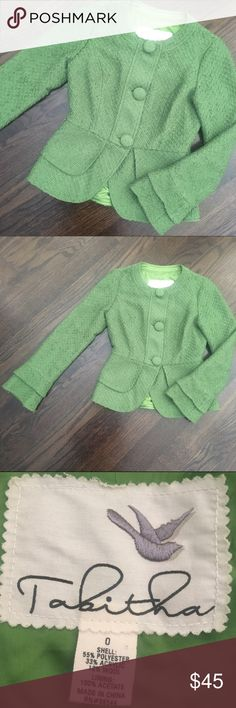 Anthropologie Tabitha Green Wool Blazer Jacket Anthropologie twofold jacket in a pretty grass green. Three button front closure. Fitted style. No pockets. Polyester/Acrylic/Wool blend. Anthropologie Jackets & Coats Blazers