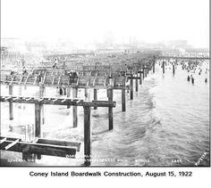Coney Island boardwalk construction, August 15, 1922