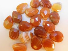 35 Stunning Faceted Carnelian Tear Drops. Starting at $7 on Tophatter.com!