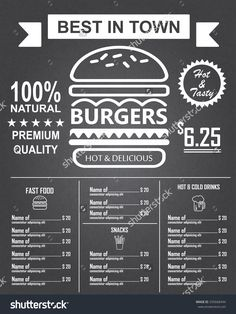 Burger Menu Poster Design On The Chalkboard. Infographics ...