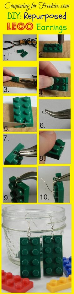 DIY: How To Make Easy Repurposed Lego Earrings By Upcycling Old Lego's