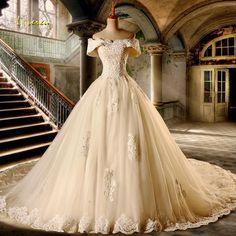 Loverxu Vestido De Noiva Sexy Boat Neck A Line Wedding Dresses 2018 Short Sleeve Appliques Beaded Vintage Bridal Gown Plus Size