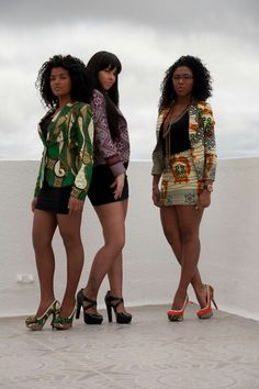 African print blazers and matching shoes