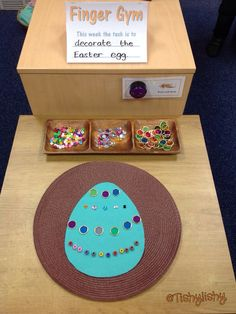 Finger gym with an Easter egg theme: fine motor skills Eyfs Activities, Motor Skills Activities, Easter Activities, Spring Activities, Fine Motor Skills, Activities For Kids, Listening Activities, Finger Gym, Early Years Classroom