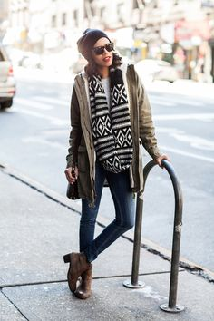 let's do this   oversized circle scarf, skinny jeans, brown boots, black beanie and parka http://www.grasiemercedes.com/style-me-wears/lets-do-this/