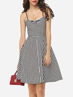 #Fashionmia - #Fashionmia Striped Lovely Spaghetti Strap Skater-dress - AdoreWe.com