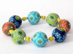 Happy Day  Designer Armband Polymer Clay, Fimo, Premo, Lampwork  von filigran-Design auf DaWanda.com 24,00 €