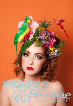 floral headdress with birds