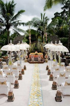 We're loving this organic Balinese wedding with tropical palm leaf decorations in Wapa di Ume, Bali #Indistay | Bali, Indonesia