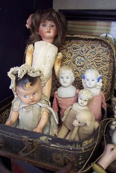 "From previous pinner:  ""I have two of the antique bisque/porcelain dolls...my grandmother gave me one when I was a young girl and when she passed away I also got the one that belonged to her...they are so beautiful...the porcelain has crazed over the years but they are beautiful nonetheless."""