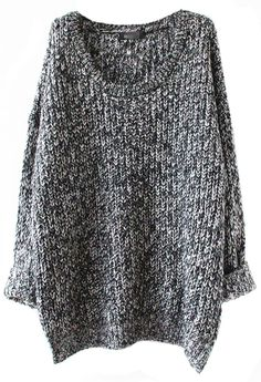 Sheinside Grey Long Sleeve Loose Sweater (one size, Grey) at Amazon Women's Clothing store: