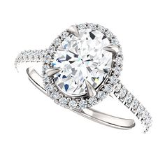 Oval SUPERNOVA Moissanite Engagement Ring| 2.19 Carats|  Diamond Alternative| Recycled 18k White Gold| Diamonds