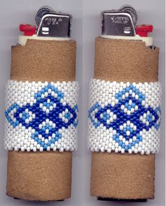 Native American made beadwork. Bic Lighter Cover covered in cow hide then beaded with size 11 glass beads in blues w/white. Custom Orders welcome. Email requests to jayna@oncomputers.info Thanks!!