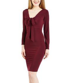 Wine Tie-Neckline Bodycon Dress