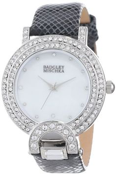 Badgley Mischka Women's BA/1279WMBK Swarovski Crystal Accented Silver-Tone Black Leather Strap Watch Badgley Mischka,http://www.amazon.com/dp/B00DBXQ3MW/ref=cm_sw_r_pi_dp_-S4ttb0REA59CM19
