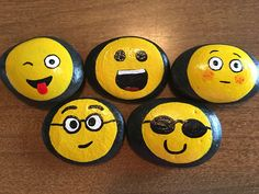 Emoji Faces, painted, on rocks - #8PR by GodsGlitter on Etsy