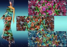 Floral com bicho - Estampa colorida por Ká Martins para Natan Tecidos.