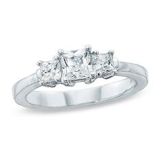 0.50 CT. T.W. Princess-Cut Diamond Three Stone Engagement Ring in 14K White Gold  - Peoples Jewellers