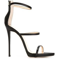 Giuseppe Zanotti Design Three-Strap Sandals (€580) ❤ liked on Polyvore featuring shoes, sandals, heels, giuseppe zanotti, black, black heel sandals, black heel shoes, open toe sandals, black strappy stilettos and high heels stilettos
