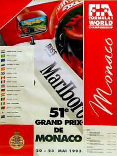 #monaco #grandprix poster 1993 Winner: Ayrton Senna / McLaren-Ford Find all the Grand Prix of Monaco official products in partnership with the Automobile Club of Monaco, as well as web exclusives! http://monaco-addict.com