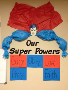 "Sunday school Bulletin Board for our ""Jesus, our real superhero"" study. Wisdom will go in red at the bottom."