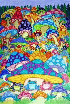 ... Magic Mushrooms Drawing - More Frogs Toads And Magic Mushrooms Fine