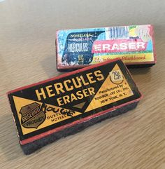 Two Vintage Chalkboard Erasers by Hercules! 50's Old-School Slate Chalk Erasers by BrightEyedZombie on Etsy