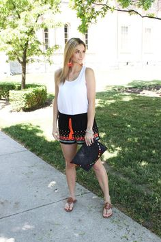 Sandals - Tory Burch   Tassel Clutch - Marshalls   Embroidered Shorts - Marshalls   Tassel Earrings - H&M   White Tank - Turquoise Boutiques