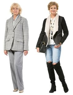 Andina, 62, looks much younger in her sheepskin jacket, ripped jeans and knee high-boots