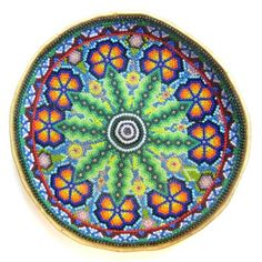 Huichol Indian Beaded Bowl with Circle of Peyote