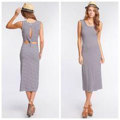 HPMidi twisted back navy dress Super soft material, navy stripes, sleeveless midi dress Dresses Midi