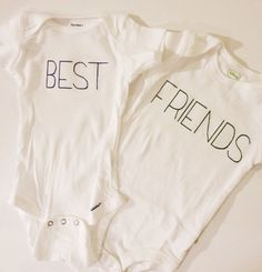 Best Friends Baby Onesie Bodysuit Set of 2 by boughtinbabyandbride, $24.00 @Ashley Thompson we need to make these for Addi & Cora!