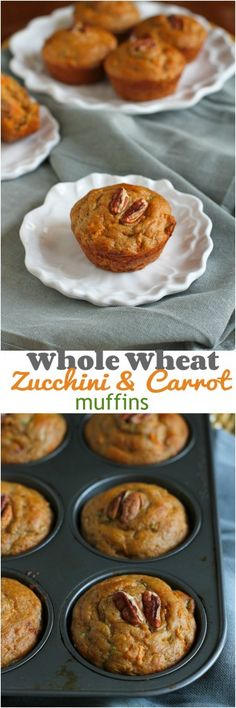 Healthy Recipes : Whole Wheat Zucchini Carrot Muffins.Perfect for breakfast or snacking! 137 ca. Carrot Muffins, Healthy Muffins, Healthy Treats, Healthy Baking, Healthy Recipes, Veggie Recipes, Healthy Foods, Greek Yogurt Muffins, Good Food