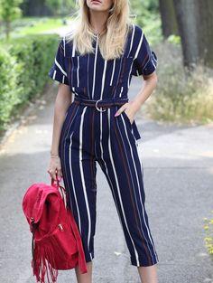 Striped Round Neck Short Sleeve Jumpsuit - STRIPE S