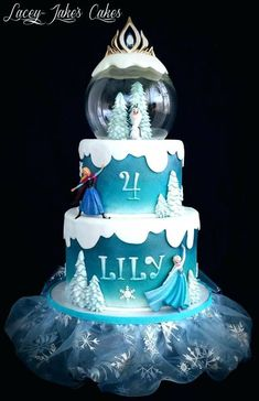 Harry Potter Cake Sofia the First Cake Police Uniform Cake Frozen Snow Globe Cake (Tutorial Here) Gift Box Cak. Bolo Frozen, Torte Frozen, Disney Frozen Cake, Disney Frozen Birthday, Elsa Birthday Cake, Frozen Themed Birthday Cake, Frozen Theme Cake, Themed Cakes, 4th Birthday