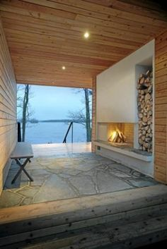 l photo: Hans Koistinen l Fireplace Pictures, Summer Cabins, House By The Sea, Dream Rooms, Architectural Elements, Rustic Design, Modern Rustic, Cottage, Patio