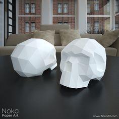 Human Skull 3D papercraft model. Downloadable DIY template