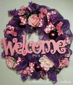 Check out this item in my Etsy shop https://www.etsy.com/listing/268491434/pink-welcome-sign-wreath-summer-wreath