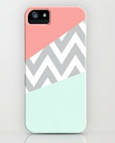 Mint & Coral Chevron Block IPHONE 5 CASE. Includes screen protector and cleaning cloth on Etsy, $9.80