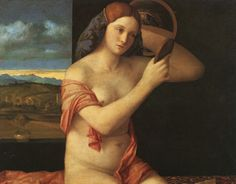 Giovanni Bellini - Naked Young Woman in Front of the Mirror  (oil on canvas, aprox. 1505 - 1510)