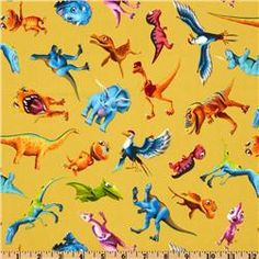 Instead of buying table covers, use lengths of fabric that you can then re-purpose. This print would be great for an older child. 1 2 3 Dinosaur Train Dinosaur Toss Yellow $8.98 per yard #dinosaur #party