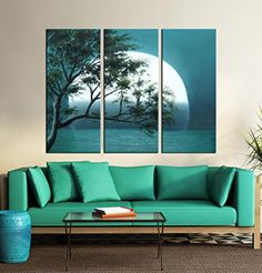 """Hand-Painted """"Connect Water Moon""""3-Piece Gallery-Wrapped Modern Oil Painting On Canvas Artland http://www.amazon.com/dp/B00PIG2TA0/ref=cm_sw_r_pi_dp_QyYPvb1GB3KVK"""