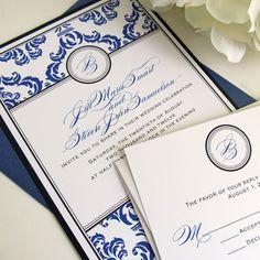 Damask Wedding Invitation Layered Sample Set